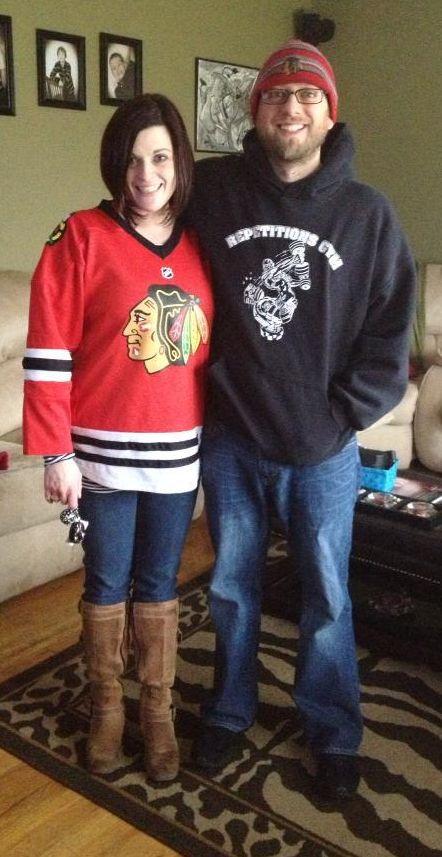 Blackhawks fans Rachel and Brad.