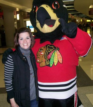 Rachel and friend at a Chicago Blackhawks game.